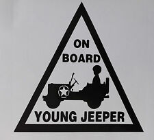"jeep , ""young jeeper on board"" car sticker 150mm x 150mm"