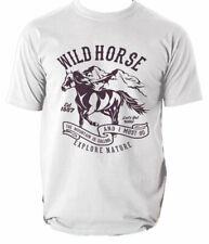 Diseño de caballo salvaje camiseta Cuello en V Camiseta Gráfico animal Bestia S-3XL