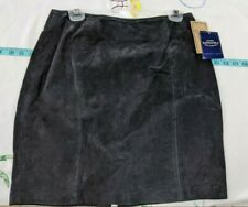 """NWT Kohls Sonoma Black Leather Suede Above Knee Skirt Size 10 (18.5"""" x 30"""")"""