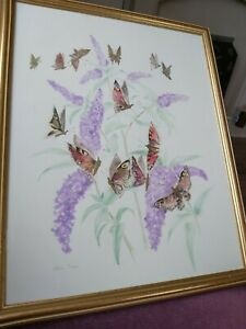 Eileen Turner Butterfly & Lilac Watercolour Mixed Media Original painting Framed