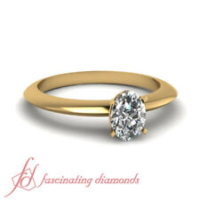 Contemporary Solitaire Womens Diamond Rings With Untreated Oval Shaped 1/2 Ct