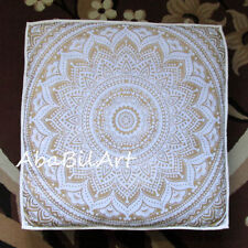 """5 Pc. Lot Of 35X35"""" Square Cushion Cover Cotton White Gold Floor Pillow Covers"""
