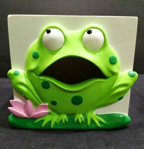 Vintage Kleenex wood White painted Green Frog square side Tissue Box Cover