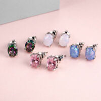 Women Hypoallergenic Silver Plated Cut White Fire Opal Zircon Stud Earrings Gift