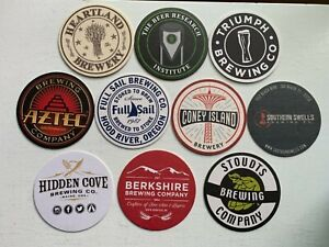 10 CRAFT BEER COASTERS-AZTEC,HIDDEN COVE,SOUTHERN SWELLS,CONEY ISLAND,FULL SAIL