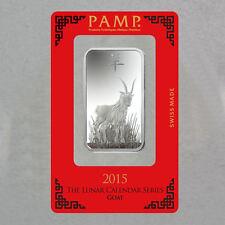 1 once Argent 999 Lingot d'argent Lunaire Année le Chèvre Year of the Goat 2015