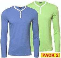 Men's Mainstream FMO742 2 pack y-neck t-shirts/long sleeve top 4 colour options