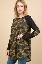 NWT Womens 1X XL Plus Camouflage Camo Raglan Long Sleeve BOUTIQUE TOP Winter
