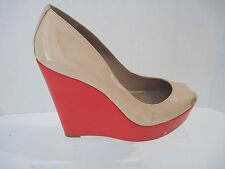 Vince Camuto Ladell Nude And Coral Patent Leather Wedges Shoes 8.5 B