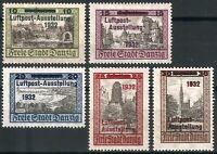 DR Nazi Danzig Rare WW2 Stamp 1932 Overprint Castle Air Luftpost Service FullSet