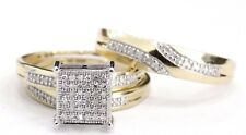 Yellow Gold Over 2.40 Ct Diamond Engagement Ring Wedding Trio Set His & Her