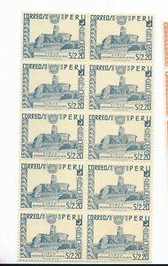 PERU 1953 INCA SOLAR OBSERVATORY NATIVE AMERICAN SCOTT C119 IN BLOCK OF TEN MNH
