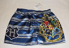 Harry Potter Mens Blue Hogwarts Crest Printed Satin Boxer Shorts Size S New