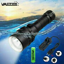 Diving 10000Lm Flashlight Scuba Led Torch Snorkeling Hiking Fishing Lamp Battery