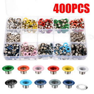 400Pcs Metal Eyelets Button Grommets Kit & Fixing Tool For Shoes Leather DIY