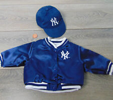 "American Girl 18"" Doll NEW YORK VARSITY JACKET Coat & NY BASEBALL HAT Cap Outfit"