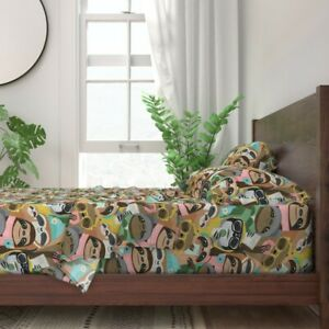 Sloths In Society Selfies Donuts Modern 100% Cotton Sateen Sheet Set by Roostery