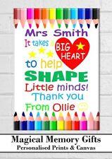 Thank you Teacher gift print personalised Best Teacher a4 Teachers present