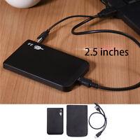 """Black USB2.0 2.5"""" IDE Hard Drive Disk HD Aluminum External Case Enclosure Box"""