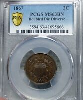 1867 Doubled Die Obverse Two Cent Piece 2cp DDO  --- PCGS MS-63 Slabbed --- #895