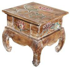Holz Nachttisch Opiumtisch Telefontisch Beistelltisch hell Lotos bunt Tisch 13
