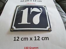 Hausnummer Nr. 17 weisse Zahl auf blauem Hintergrund 12 cm x 12 cm Emaille Neu