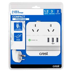 Crest Premium Power Board 2 Socket & 3 USB 3.5A Charger Phone Holder Desk Stand