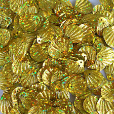Sequins Clams / Shell 14mm Gold Hologram ~200 pieces Loose