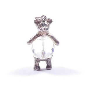 Vintage Silver Charm Teddy Bear Crystal Belly 925 Sterling 6.2g