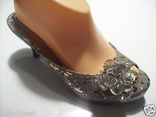 Lalla Hula Hoop Gray Bead Flower Slides Mules Sandals Heels Shoes Size 8 @cLOSeT