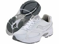 NIB SAUCONY MENS WHITE LEATHER OMNI STABLE WALKING SHOE SIZE 9.5 M #4260-1