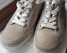 £120 GABOR Comfort beige leather & suede trainers size UK 6G ExCon