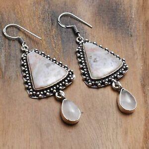 "Crazy Lace Agate Rose Quartz Handmade Drop Dangle Earrings 2.32"" AE 19062"