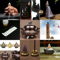 Buddhist Alloy Ceramic Glaze Incense Burner Holder Cone Smoke Backflow Censer