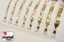 Fashion 14k Yellow Gold Plated Width 4 5 6 7 8 10 mm Figaro Link Chain Necklace