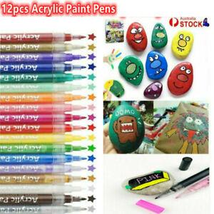 12pcs/set Acrylic Paint Pens Sets Fine Art Marker Metal Glass Rock Waterproof