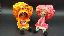Vintage 1970's Pair of Paper Mache Dolls Signed Bright Colors