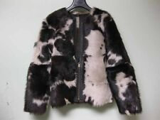 $2415 Ulla Johnson Dyed Spotted Lamb Shearling Fur Black Leather Jacket Coat XS