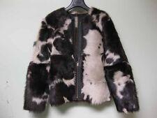 $2415 Ulla Johnson Dyed Spotted Lamb Shearling Fur Black Leather Jacket Coat XS