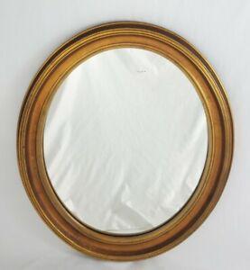 "Vintage Carved Wood Wall Mirror Oval Gilt Frame Federal Hollywood Regency 26"""