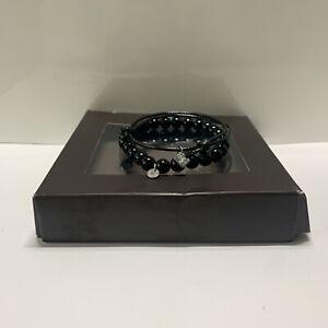 TATEOSSIAN Onyx Bracelet. Semi-Precious Black Stretch RRP £125 w/ Box Sz M 25cm