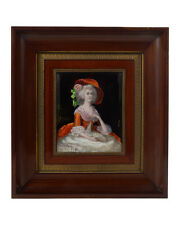 19th century Enamel on Copper Painting of Woman by Dorval -Signed