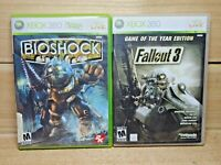 Xbox 360 Video Game Lot Bioshock & Fallout 3 Game of the Year Complete Tested