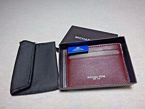 NWT Michael Kors Harrison Leather Card Case, OXBlood