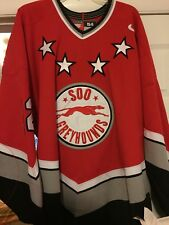 2002-2003 OHL CHL SOO GREYHOUNDS MIKE MOHER GAME WORN HOCKEY JERSEY NIKE