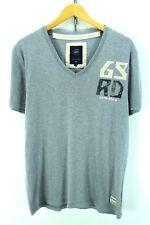G-Star Men's V-neck T-Shirt Size L Grey Graphic Tee Short Sleeve Cotton EF2662