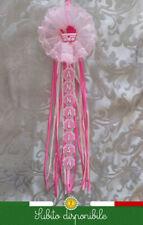 Fiocco nascita neonata femmina coccarda nome personalizzato rosa 18xlungh. nome