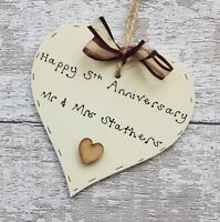 5th wedding anniversary gift personalised anniversary wooden heart gift present