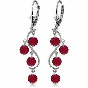 Genuine Red Ruby Gems Chandelier Leverback Earrings 14K White, Yellow, Rose Gold