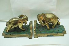 VINTAGE BOOKENDS HORSE HEAD PAIR CAST METAL SPELTER BRASS FINISH BOOK ENDS